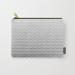 Black And White Fade Ombre Shaded Wave Carry-All Pouch