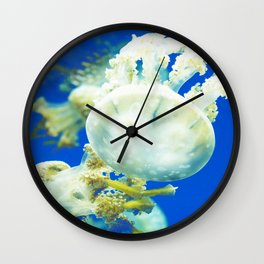 Blue Jellyfish Under the Sea Underwater Photography Saturated Pop Art Color Wall Art Wall Clock
