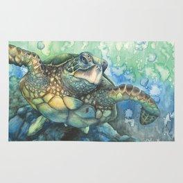Sea Turtle Glides Rug