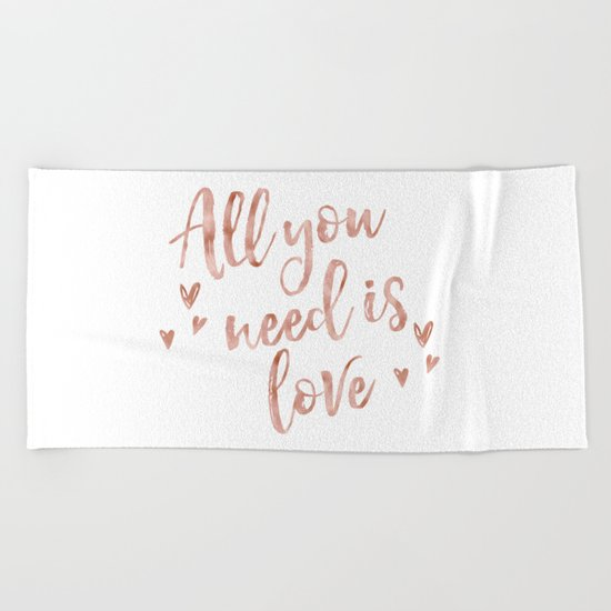 All you need is love - rose gold and hearts Beach Towel