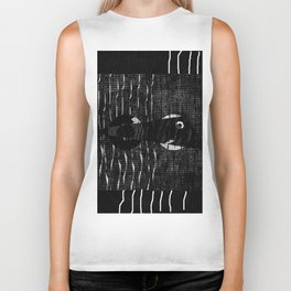 fish black and withe Biker Tank