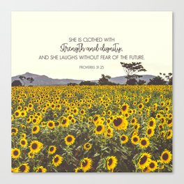 Proverbs and Sunflowers Canvas Print