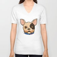 frenchie V-neck T-shirts featuring Frenchie by The Audyssey