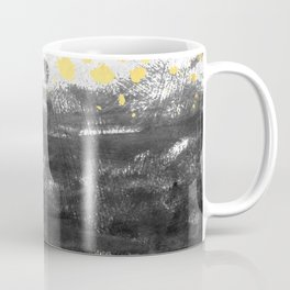 Minimal painting abstract gold black and white ocean water waves dots painterly Coffee Mug