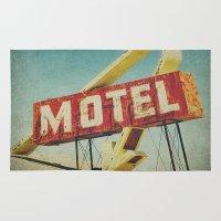 rockabilly Area & Throw Rugs featuring Thrashed Motel Sign by Honey Malek