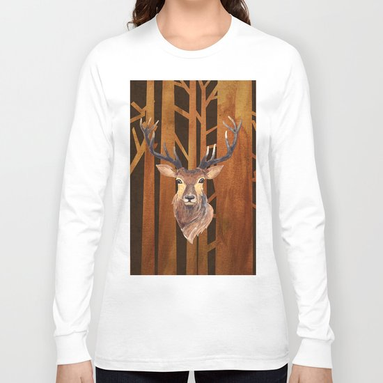 Proud deer in forest 1- Watercolor illustration Long Sleeve T-shirt