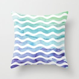 Modern teal purple watercolor wave striped Throw Pillow