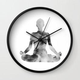 Yoga | Lotus Pose | Padmasana | Sacred Lotus | Asana | Meditation | B&W Wall Clock