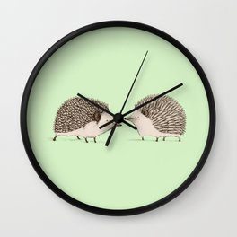 Two Hedgehogs Wall Clock