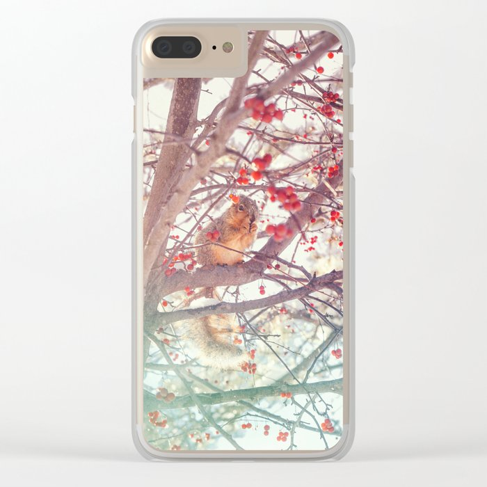 Squirrel Meal on a Cherry Tree Clear iPhone Case