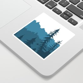 Tree Gradient Blue Sticker