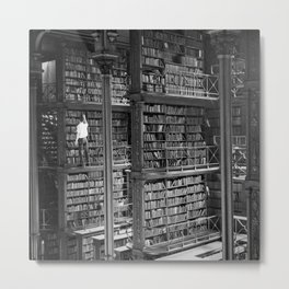 A book lovers dream - Cast-iron Book Alcoves Cincinnati Library black and white photography Metal Print