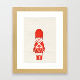 English toy soldier with drum, drawing with letterpress effect. Framed Art Print
