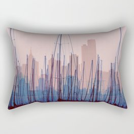 City Harbor Skyline Abstract Rectangular Pillow