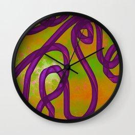 """Galactic Ribbon"" (Purple/Orange/Lime) Digital Painting // Fine Art Print Wall Clock"