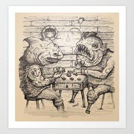 Sea Lubbers: Fish Pirates Gambling on Cards - bw Art Print