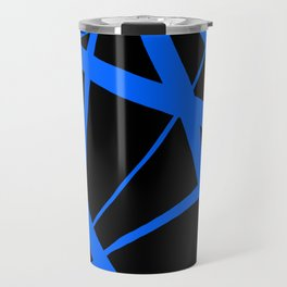 China Blue Star Abstract on Black Travel Mug