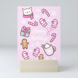 Cute Christmas // Pink Mini Art Print