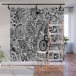 Mushy Madness doodle art Black and White Wall Mural