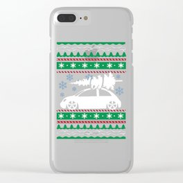 Ugly Christmas Car Trees Snowflakes Clear iPhone Case