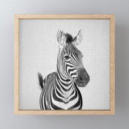 Zebra 2 - Black & White Framed Mini Art Print