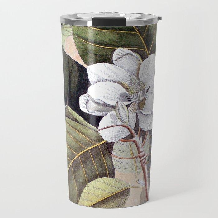 Vintage White Magnolia Travel Mug
