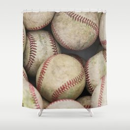Many Baseballs - Background pattern Sports Illustration Shower Curtain