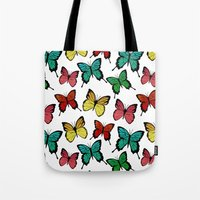 butterflies Tote Bags featuring Butterflies by Julia Badeeva
