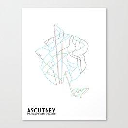 Ascutney, VT - Minimalist Winter Trail Art Canvas Print