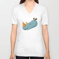 rhino V-neck T-shirts featuring Rhino by Mr. Peruca