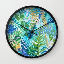 Blue Tropical Botanical Wall Clock