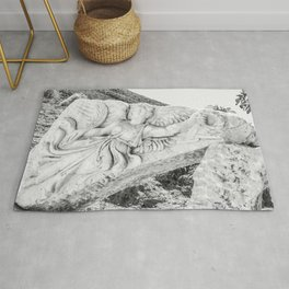 European City Ruins | Ephesus Carved Statue Rock Black and White Muted Gray Historical Wanderlust Rug