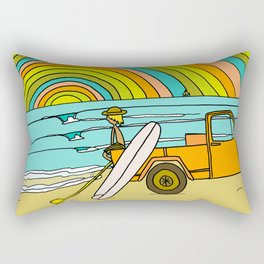Retro Surf Days Single Fin Pick Up Truck Rectangular Pillow