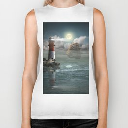 Lighthouse Under Back Light Biker Tank