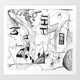 Blind contour 1 Art Print