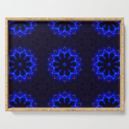 Circular futuristic abstract shapes of blue and gold colors. Images from outside this world. Serving Tray