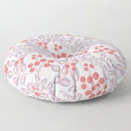 Delicate sprigs, red - orange flowers. Floor Pillow