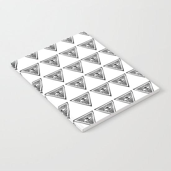 Linocut eye triangle pyramid symbol minimal black and ...