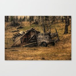 Visions Of The Past - Rustic Shed Canvas Print