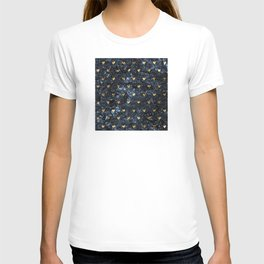 Gold Glitter Hearts on Blue-Black Scratched Suede T-shirt