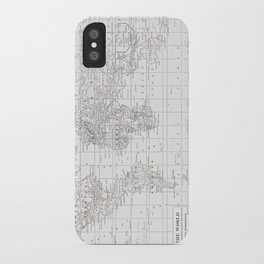 World Map ~ White on White iPhone Case