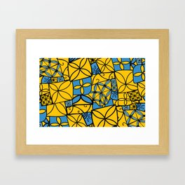 blue and yellow tapa Framed Art Print