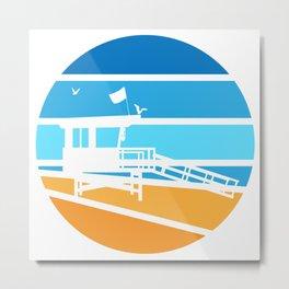 Lifeguard Tower - Retro Metal Print
