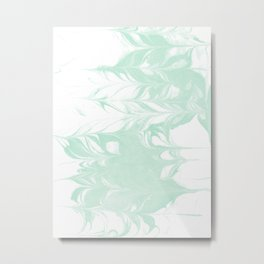 Marble mint 2 Suminagashi watercolor pattern art pisces water wave ocean minimal design Metal Print