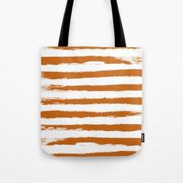 Autumn Maple STRIPES Handpainted Brushstrokes Tote Bag