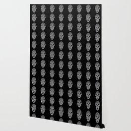 Skull pattern on black background Wallpaper