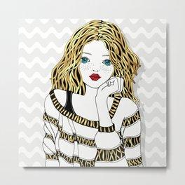 Girl With Curling Hair Metal Print