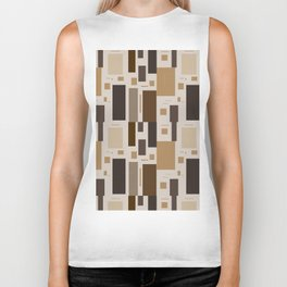 Retro Squares in Browns and Golds Biker Tank