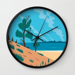 Indiana Dunes National Park  in Northwestern Indiana United States WPA Poster Art Color Wall Clock