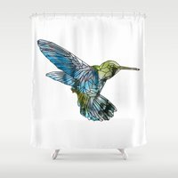 hummingbird Shower Curtains featuring Hummingbird by madbiffymorghulis